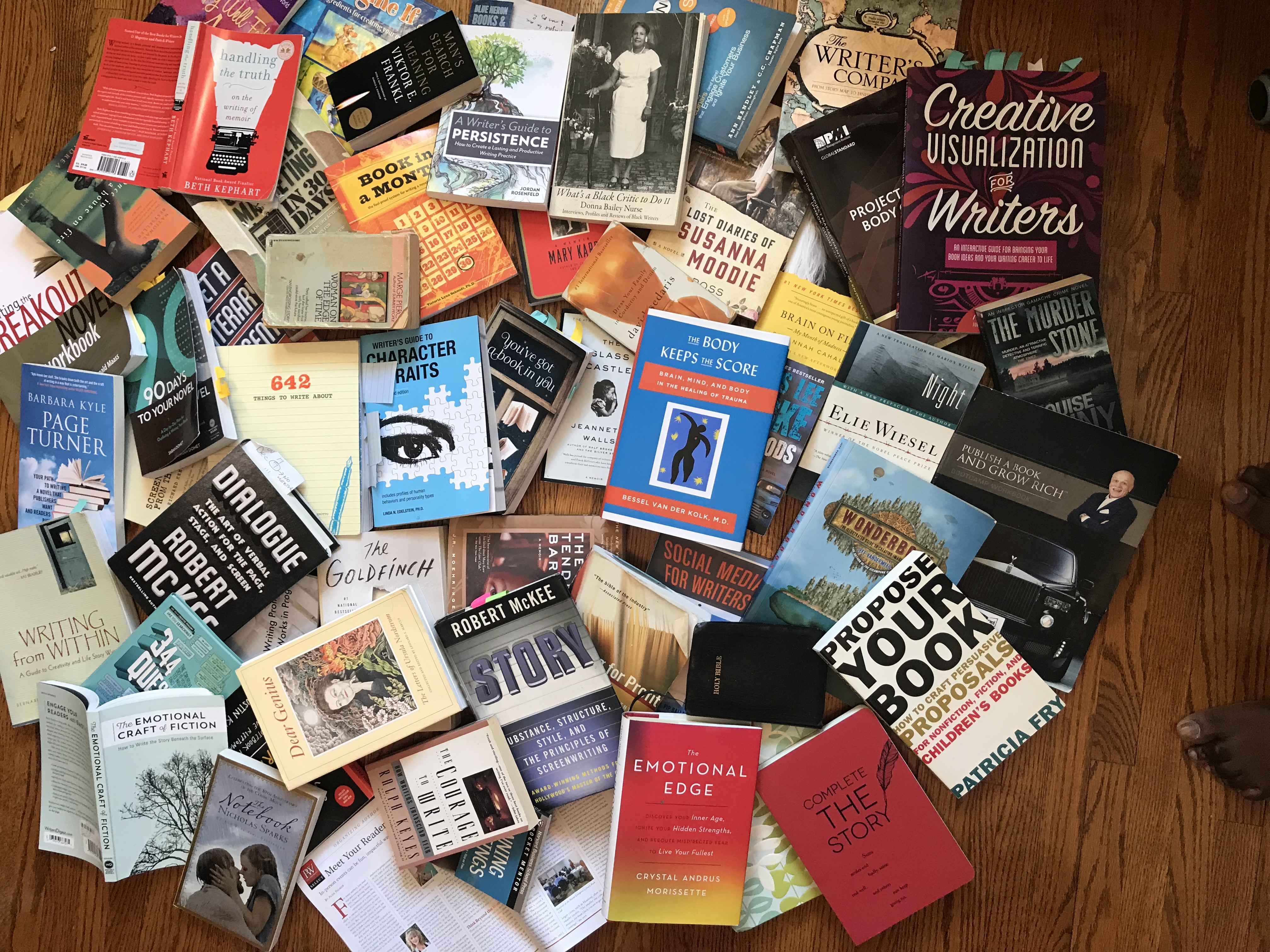 Photograph of writing and editing books
